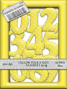 Yellow Polka Dot Numbers 0-9