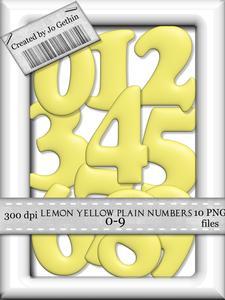 Lemon Yellow Plain Numbers