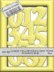 Lemon Yellow Polka Dot Numbers