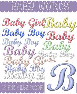 Baby, Baby Boy and Baby Girl Word Kit 1