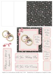 Pink and Black Wedding Ring Mini Easel Card