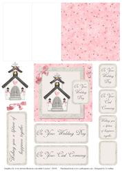 Pink and Grey Church 2 Mini Easel Card