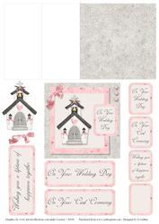 Pink and Grey Church Mini Easel Card