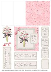 Pink and Grey Wedding Bouquet 2 Mini Easel Card