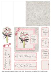 Pink and Grey Wedding Bouquet Mini Easel Card