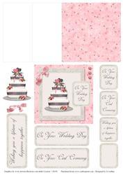 Pink and Grey Wedding Cake 2 Mini Easel Card