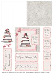 Pink and Grey Wedding Cake Mini Easel Card
