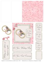 Pink and Grey Wedding Ring 2 Mini Easel Card