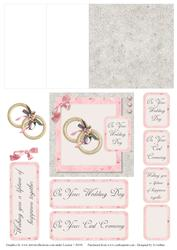 Pink and Grey Wedding Ring Mini Easel Card