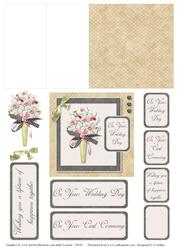 Taupe and Black Check Wedding Bouquet Mini Easel Card