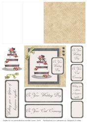 Taupe and Black Check Wedding Cake Mini Easel Card