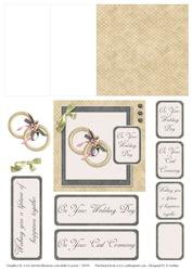 Taupe and Black Check Wedding Ring Mini Easel Card