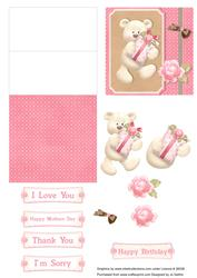 Brown and Pink Bear Mini Easel Card