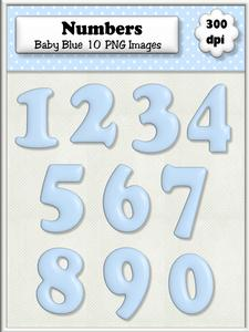 Baby Blue Plain Numbers