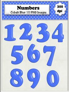 Cobalt Blue Plain Numbers