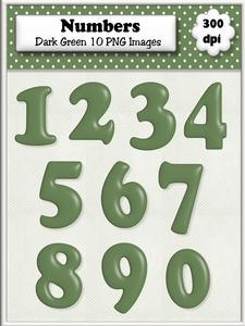 Dark Green Plain Numbers