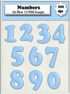 Ice Blue Plain Numbers
