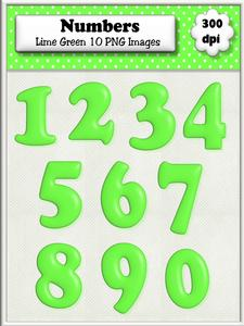 Lime Green Plain Numbers