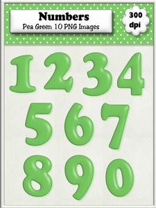 Pea Green Plain Numbers