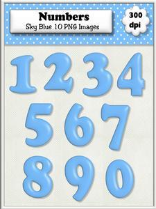 Sky Blue Plain Numbers