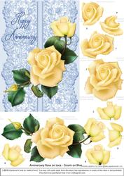Roses on Lace - Cream on Blue - Anniversary