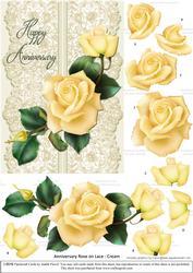 Roses on Lace - Cream on Cream - Anniversary
