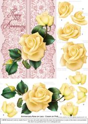 Roses on Lace - Cream on Pink - Anniversary