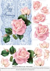 Roses on Lace - Pale Pink on Blue - Anniversary