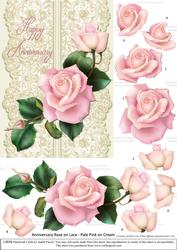 Roses on Lace - Pale Pink on Cream - Anniversary