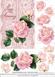 Roses on Lace - Pale Pink on Pink - Anniversary