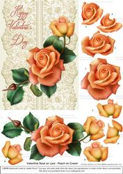 Roses on Lace - Peach on Cream - Valentine
