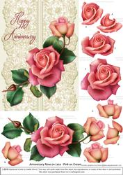 Roses on Lace - Pink on Cream - Anniversary