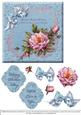 Blue Floral with Roses and Ribbons
