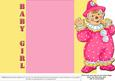 Jolly the Clown Gatefold New Baby - Pink on Yellow