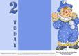 Jolly the Clown Gatefold 2nd Birthday - Blue on Blue