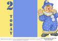 Jolly the Clown Gatefold 2nd Birthday - Blue on Yellow