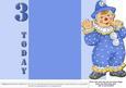 Jolly the Clown Gatefold 3rd Birthday - Blue on Blue