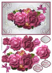 Cerise Rose Spray Large Card Front