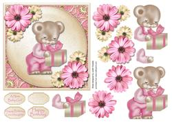 Pink Bear with Gift Square Card Front