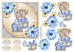 Blue Bear with Gift Square Card Front