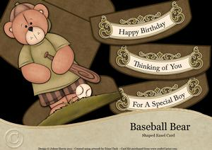 Baseball Bear - Shaped Easel Card Kit