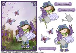 Cloey's Purple Garden - Decoupage Card