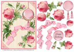 Pink Roses and Cream - Decoupage Card