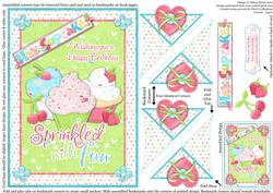 Hey Cupcake Happy Birthday - Four Corner Bookmark Card