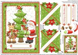 Santa and Reindeer with Gifts - Four Corner Bookmark Card