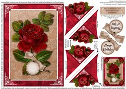 Rich Red Roses - Four Corner Bookmark Card