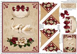Love Lace Swans - Four Corner Bookmark Card
