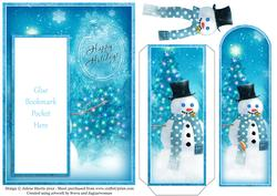 Blue Winter Holiday - Bookmark Pocket Card