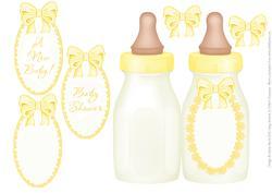 Yellow Baby Bottle - Folded Card for Boy or Girl