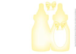 Yellow Baby Bottle - Folded Insert for Baby Boy or Girl